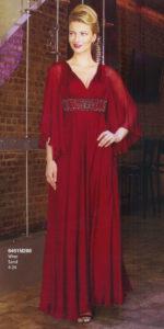シルクの袖ありイブニングドレス、ロングドレス
