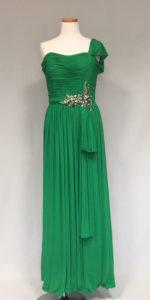 緑のジャージ^素材のイブニングドレス